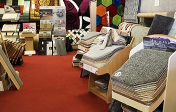Carpet samples on shop floor
